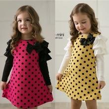 Girls Dresses Blouse Clothing Long-Sleeve Polka-Dot Kids Princess