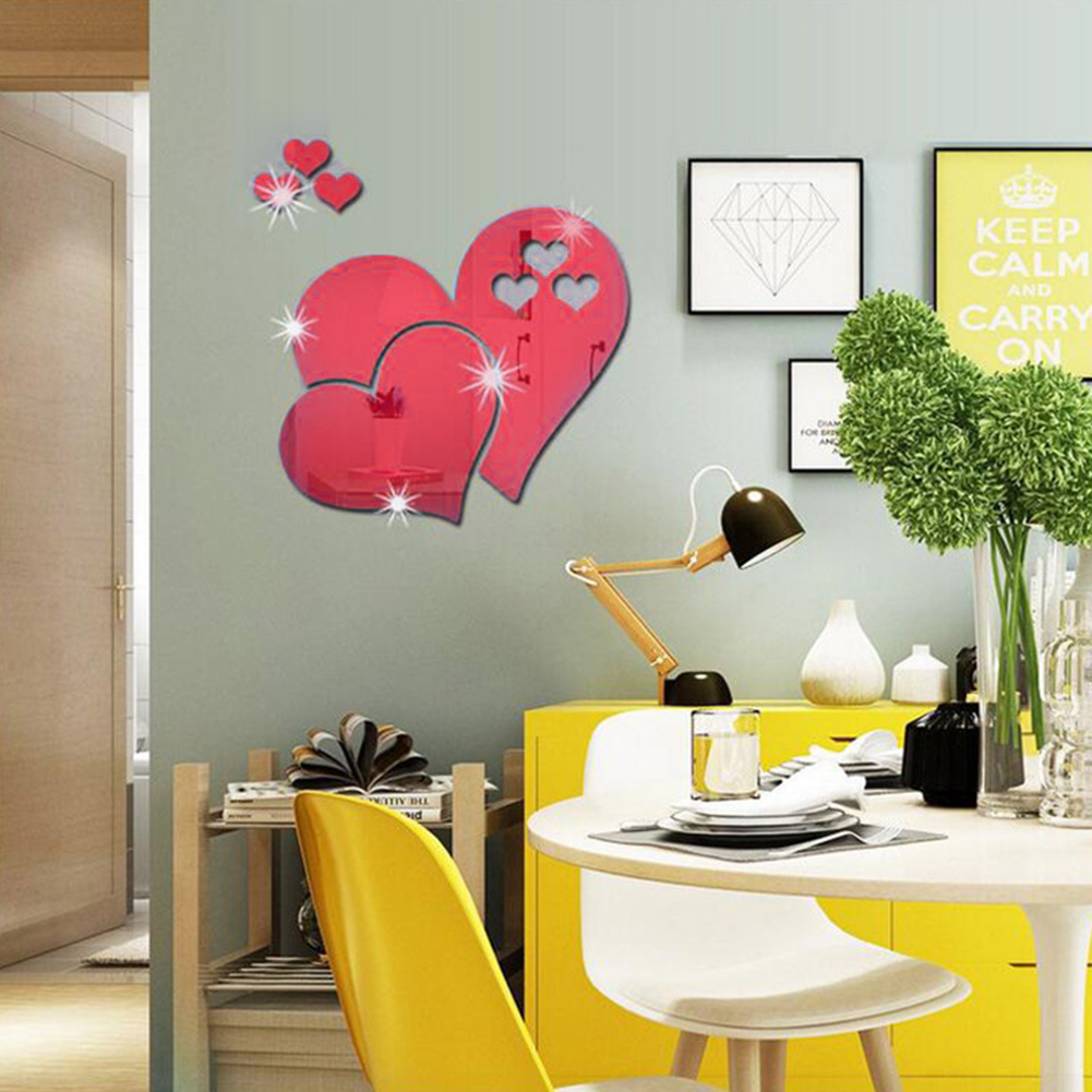And Children Women Cooperative Mural Home Decor Hotel Modern Removable Wedding Mirror Diy 3d Living Room Art Decal Bedroom Wall Sticker Love Heart Suitable For Men