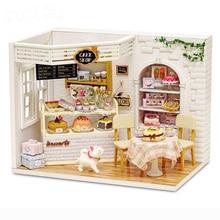 Мини День рождения пирожное кукла дом мебель DIY Миниатюрный пылезащитный чехол 3D Деревянный кукольный домик игрушки для детей подарок на день рождения