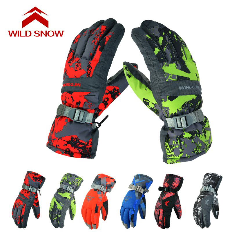 Wild Snow Ski Gloves Waterproof Windproof Mens Winter Thermal Warm Gloves for Snow Skiing Snowmobile Snowboarding Shredding