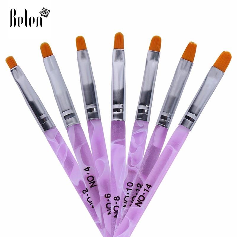 Belen 7Pcs Nail Art Brush Set Pen Nail Art Tools Plastic Brush for ...