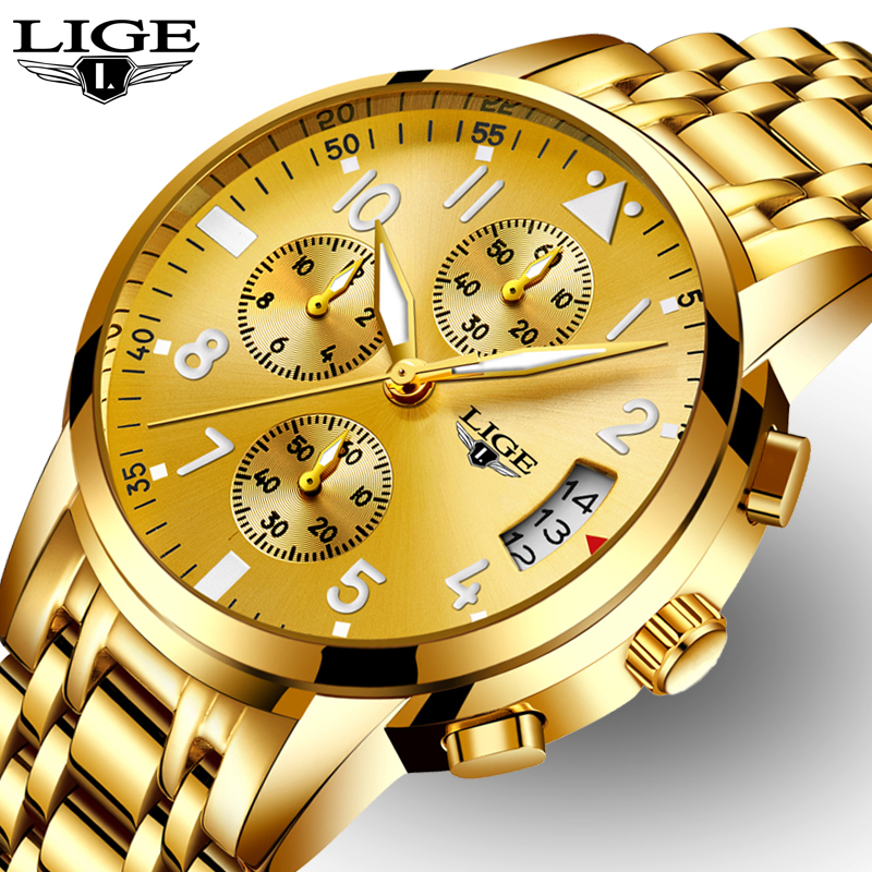 relogio masculino LIGE Mens Watches Top Brand Luxury Fashion Business Quartz Watch Men Sport Full Steel Waterproof Gold Clock new fashion mens watches gold full steel male wristwatches sport waterproof quartz watch men military hour man relogio masculino