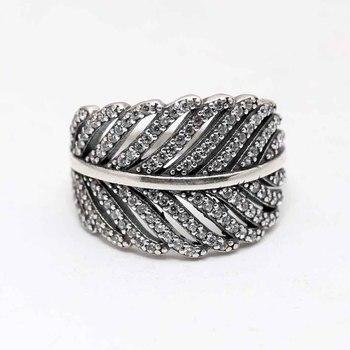 7164744212b2 Auténtica Plata de Ley 925 anillo Vintage siempre pluma con anillo de  cristal para las mujeres regalo de fiesta de boda bien la joyería de Pandora