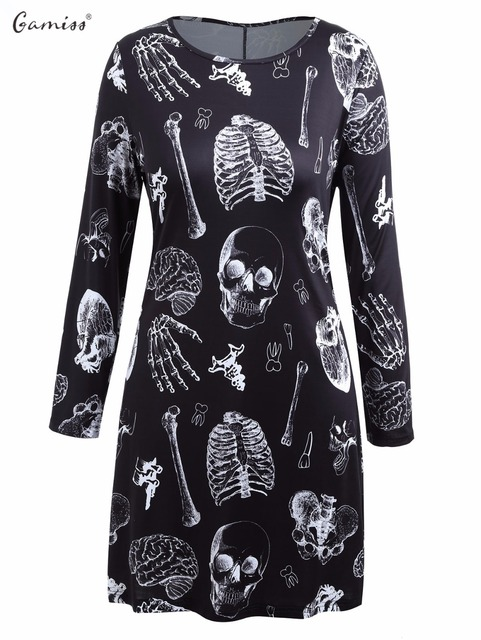 gamiss plus size halloween skeleton women t shirt dress spring autumn long sleeves o