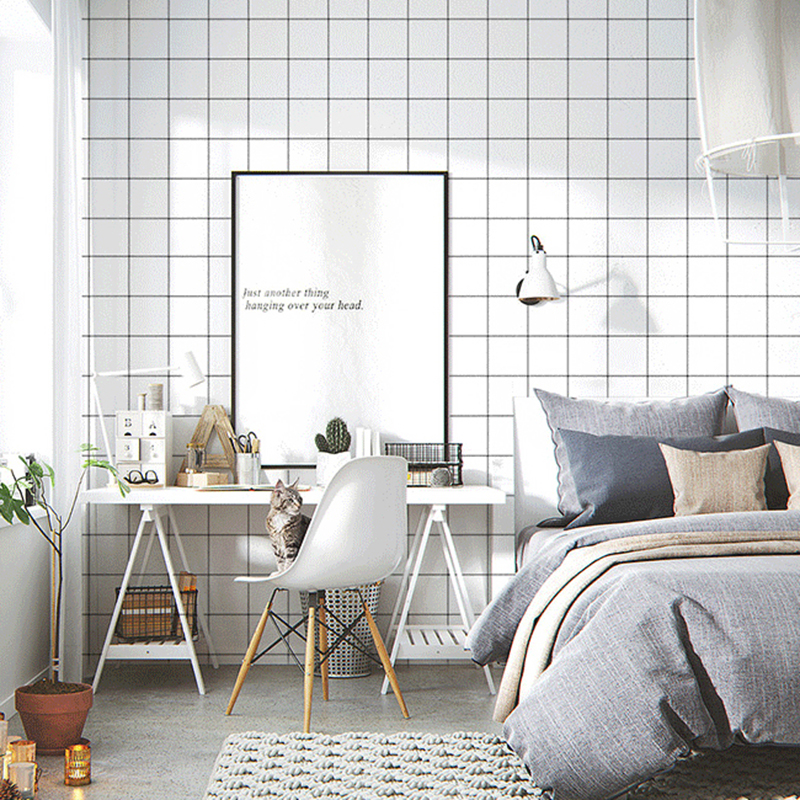 Black And White Grid PVC Wallpaper 3D Bathroom Living Room Bedroom Self-Adhesive Waterproof Wall Sticker Home Decor Wall Papers