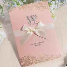 30pcs/lot New Arrival White Elegant Engagement Card Ribbon Bow Wedding Invitation with Blank Inner Page,envelope
