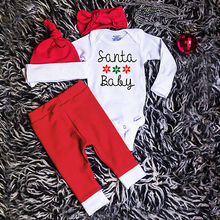 Newborn Baby Boys Girls Christmas Clothes Tops Romper Pants Hat 4PCS Outfits Set