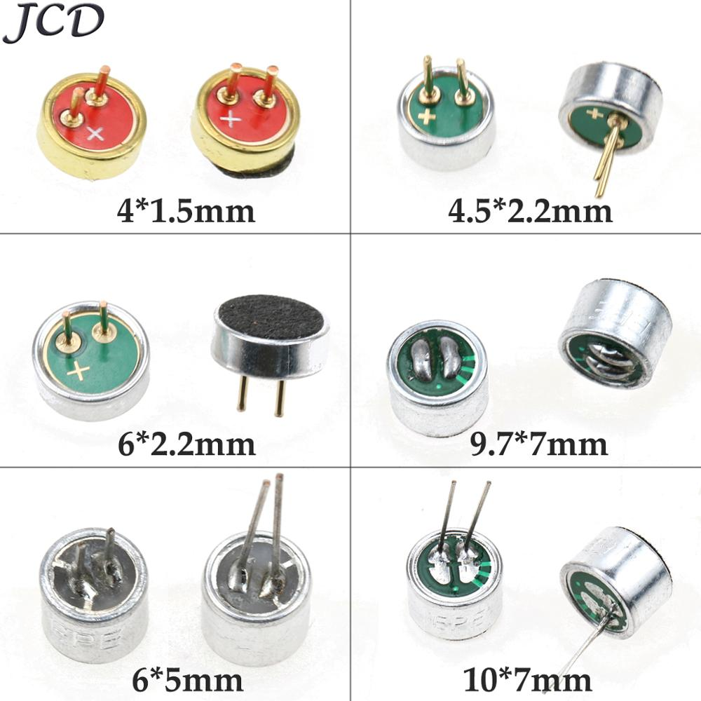 JCD 9.7mm X 7mm /10 X 7 Mm/6x5 Mm/6 X 2.2 Mm/4.5*2.2 Mm/4*1.5mm 2 Pin MIC Capsule Electret Condenser Microphone