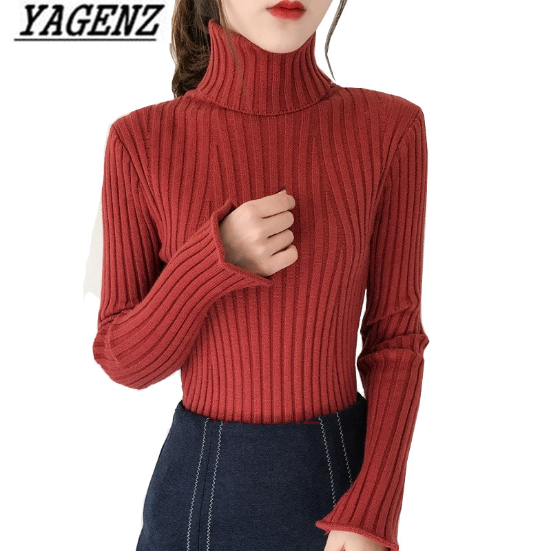 Knit Shirt Sweater Pullover Autumn Winter Women Ladies New Slim Solid Casual Turtleneck