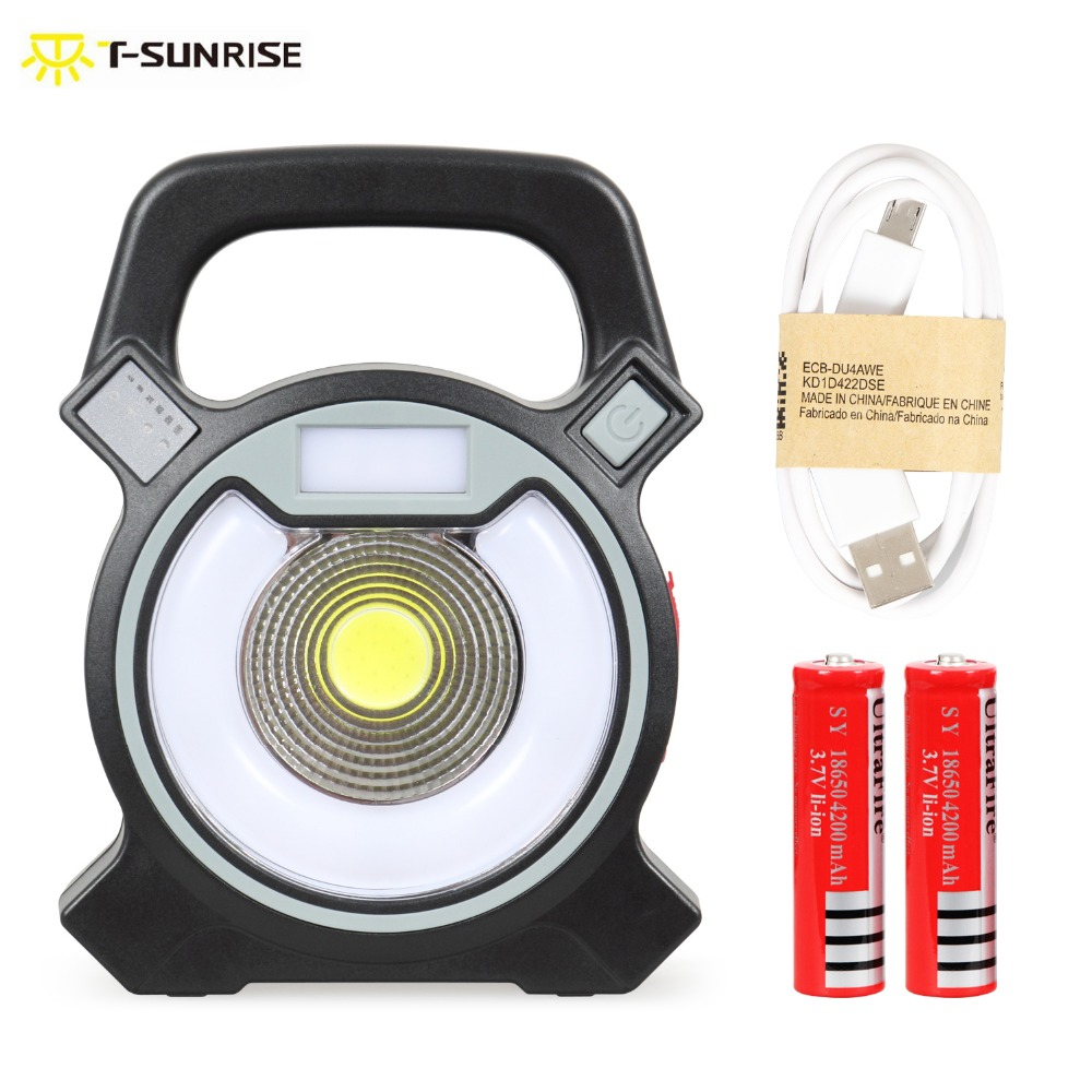 T-SUN COB LED Portable Floodlight Lantern Outdoor Waterproof 4-Mode Emergency Spotlight Lamp for Camping Hiking Tent Light