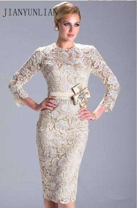 Ivory /Champagne Long Sleeves Lace Short Mother Of The Bride Dress Vestido De Madrinha 2020