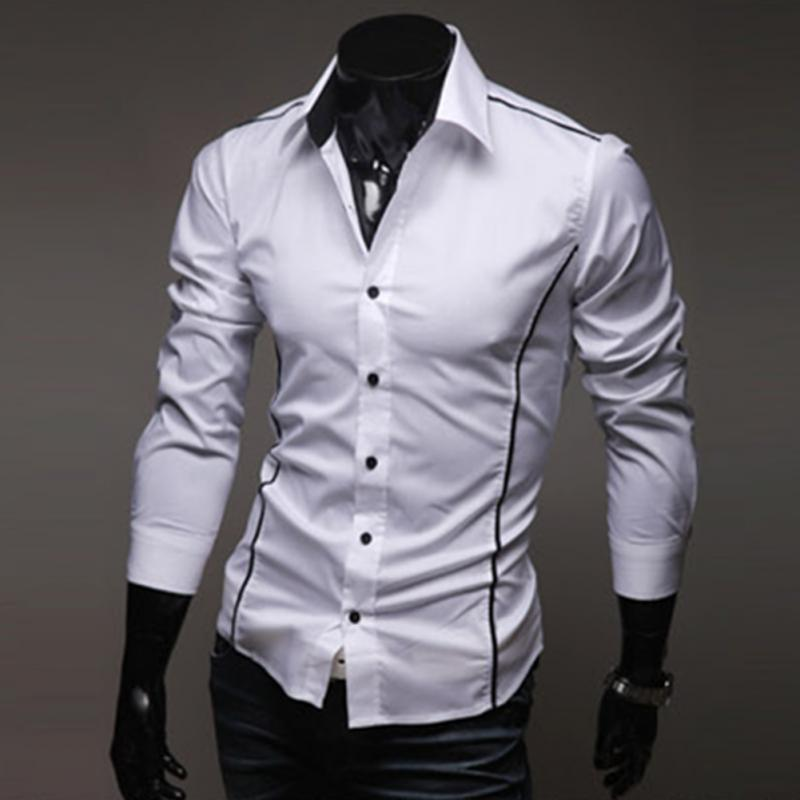 54fd867626e High Quality Fashion Top Stitching Style Slim Shirt Men Solid Color Shirt  Casual Long-Sleeve Casual Shirt