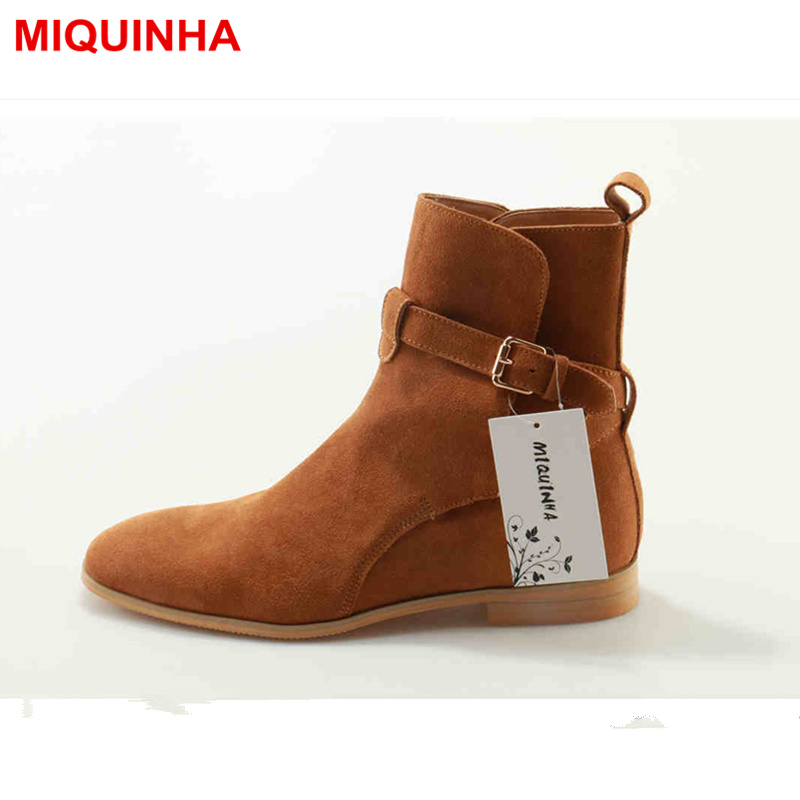 MIQUINHA Round Toe Buckle Design Men Boots Low Heel Luxury Brand Fashion European Star Runway Stage Dress Short Booties Big Size miquinha round toe women boots mixed color short booties luxury brand women cool runway fashion star high heel boots buckle shoe