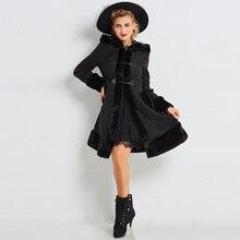 Sisjuly 2018 Single-Breasted Fall Winter Women Wool Coat Female Solid Black Out Wear Long Sleeve Overcoat Cloaks Hoodie Coats