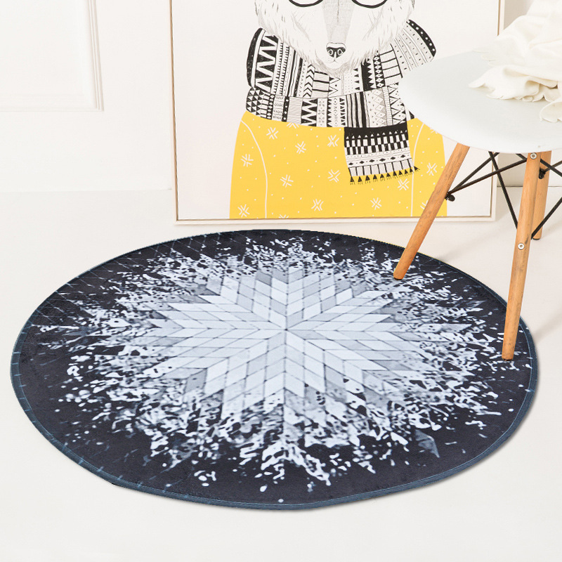 Geometric spatter ray pattern round carpet bedroom livingroom tea table room sofa soft rug blanket computer chair play mat