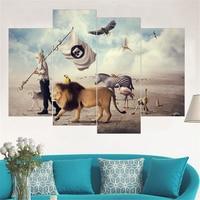 Kein Rahmen Moderne Lion Leinwand Malerei Zebra Tier Wandkunst Poster und Druck Ölgemälde Wohnkultur Wandbild für Home 4 stücke