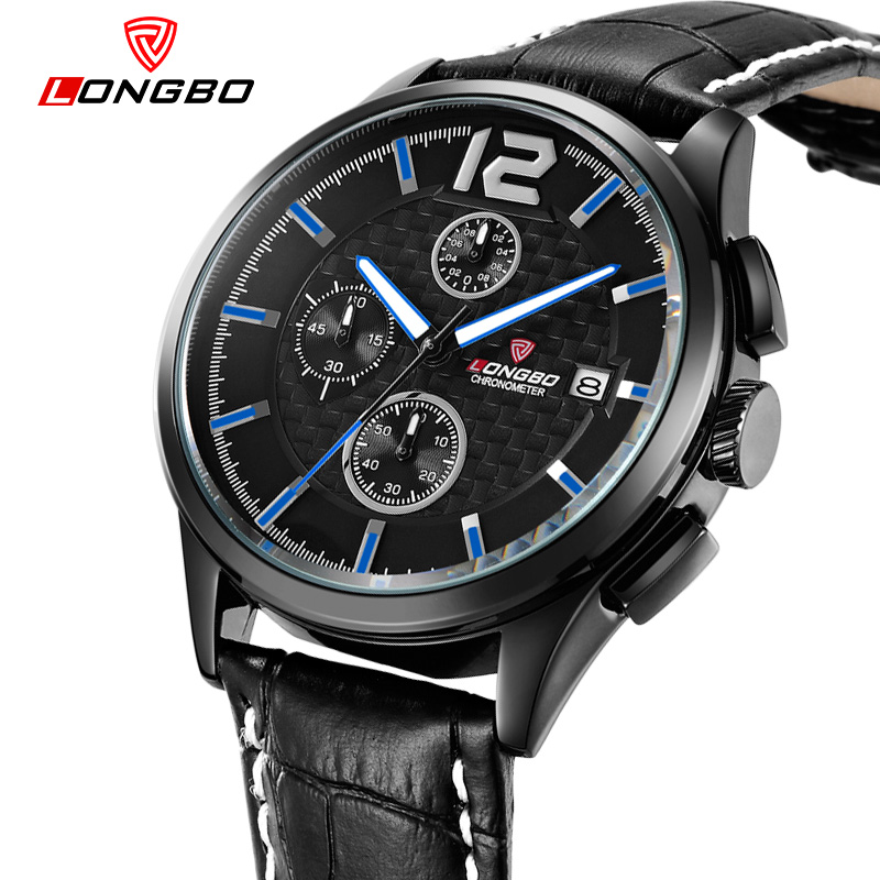 LONGBO 6Pin Top Quality Brand Luxury Men Watches Business Casual Auto Date Quartz Wristwatch Waterproof Male Leather Watch 80178 longbo super slim casual wristwatch business japan quartz men watches leather strap male and female fashion elegant dress watch