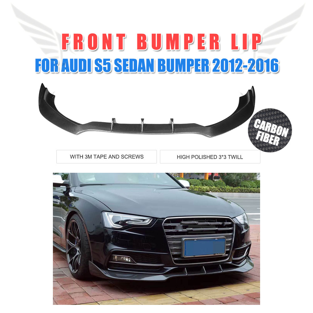 Carbon Fiber Front Bumper Lip Chin Spoiler Splitters for Audi S5 A5 Sline Bumper Facelift 2012 - 2016 Car Accessories