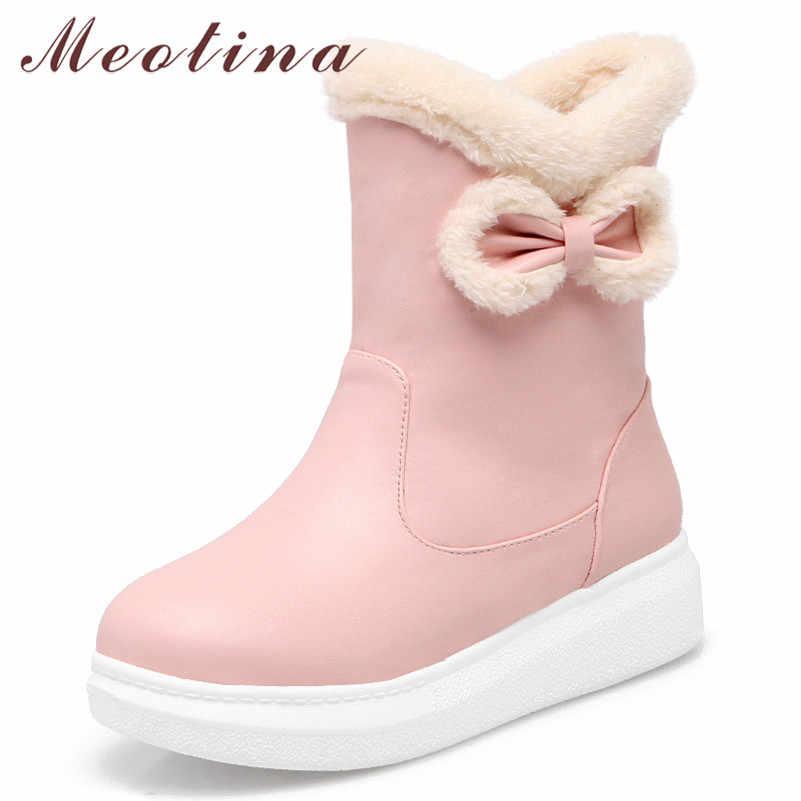Meotina Kış Kar Botları Kadın Sıcak Peluş Düz Platform yarım çizmeler Tatlı Yay Yuvarlak Ayak Kısa Ayakkabı Kadın Kırmızı Artı Boyutu 33-43