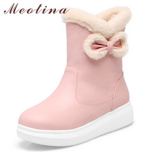 Meotina Winter Snow Boots Women Warm Plush Flat Platform Ankle Sweet Bow Round Toe Short Shoes Female Red Plus Size 33-43