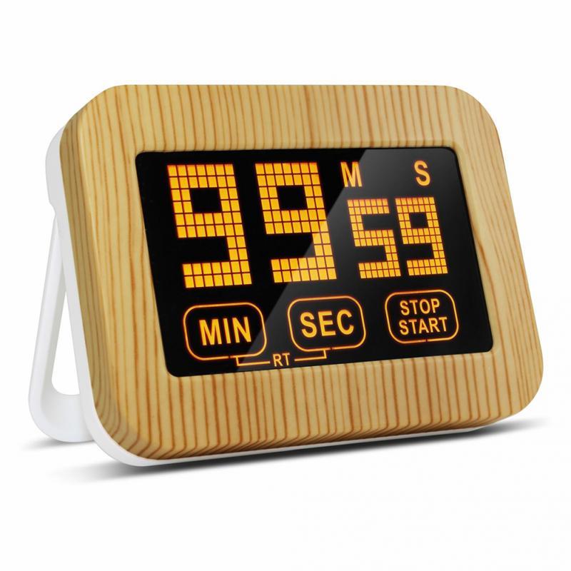 Tela de toque Luminosa Cozinha Temporizador Display LCD Com Suporte Magnético Temporizador Luminosa Alto Alarme Temporizador Digital Estudo #20