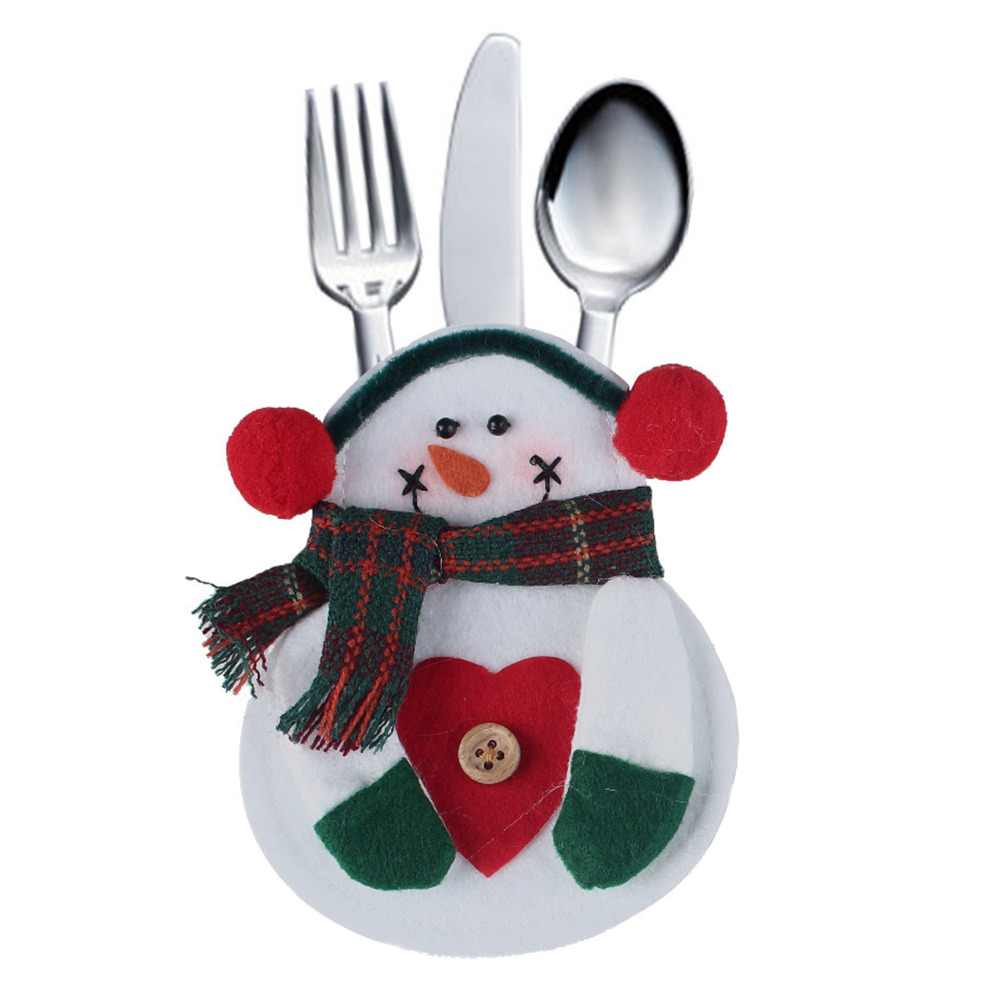 superb Snowman Kitchen Decor #3: 8pcs/set Xmas Decor Snowman Kitchen Silverware Knifes Forks Tableware  Holder Pocket Christmas Decoration Supplies