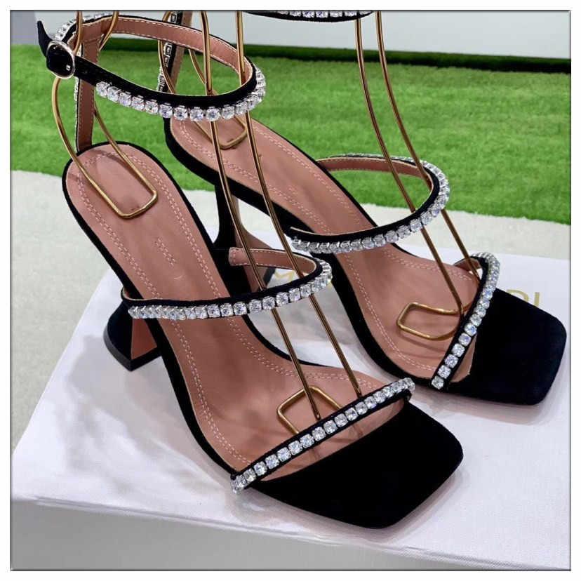 أسود الفضة صنادل طراز جلاديتور النساء القصاصات الصيف أحذية امرأة مضخات كريستال ديكور Sandalias موهير 2019 جديد تصميم عالية الكعب
