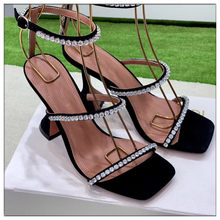 Black Silver Gladiator Sandals Women Cut-outs Summer Shoes Woman Pumps Crystal Decor Sandalias Mujer 2019 New Design High Heels(China)