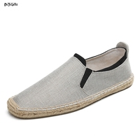 Mens Braided Hemp Flats Shoes Soft Breathable Comfortable Espadrilles Male Casual Shoes Syt12