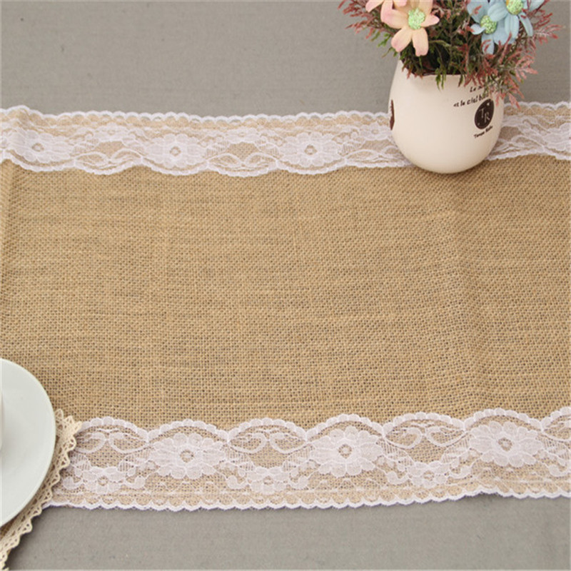 Rustic burlap lace wedding table runner party event supplies hessian ...