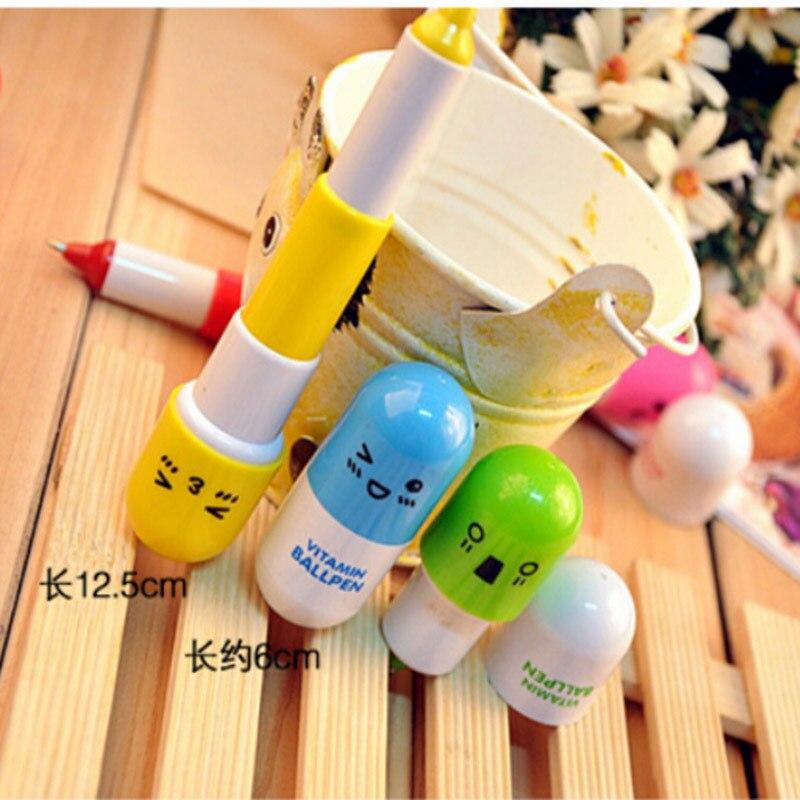 цена на BPStudent DIY Cute Kawaii Cartoon Pill Ballpoint Pen Telescopic Ball Point pen for kids Novelty Item School Supplies WJ-B P115