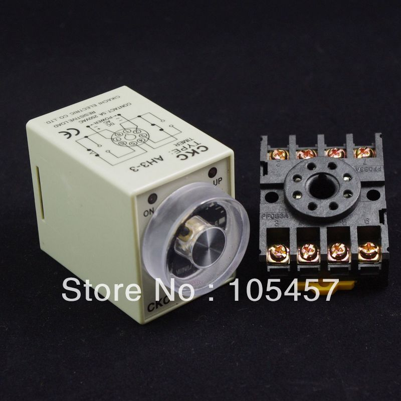 3 minutes AH3-3 Power on delay timer time relay  12/24/110/220V ah3 3 ac 380v 0 30 minutes 8p terminals delay timer time relay w base