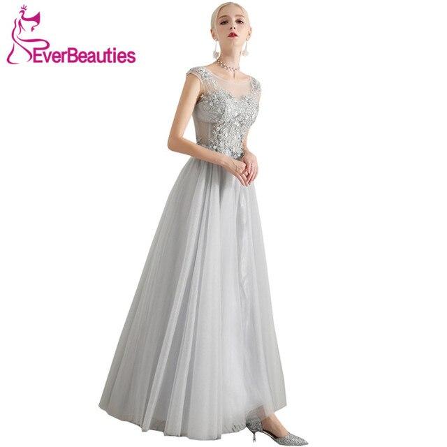 Silver Grey Evening Dresses 2019 Long Tulle Formal Dress Women Evening  Gowns Dress Party Abiye Gece Elbisesi fd4650f8425e