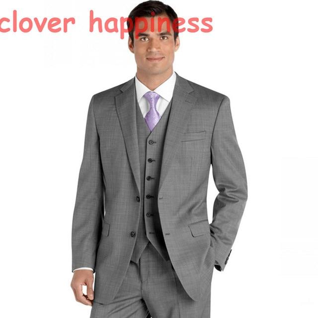 Cinza Blazer Para Os Homens Feitos sob medida Ternos Homens Blazer 2017 Smoking Traje Homme Mens Suit (jacket + pants + colete)