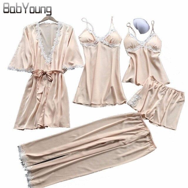 3c5a60fc2c BabYoung Spring Pyjamas Women Pajamas Set Silk Sexy Pijama Mujer Lace Tops  Camis Lingerie Femme Sleepwear Home Wear 5 PCS Pink