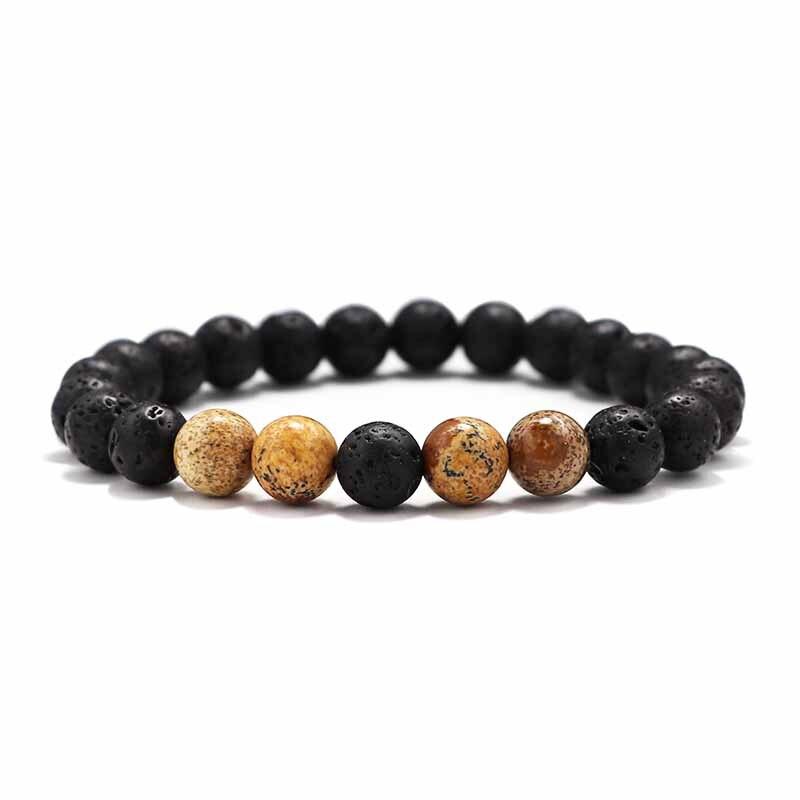 Мужские Браслеты Бусы из лавового Камня Натуральный Камень дерево жемчуг тигровый глаз бренд Модные четки 8 мм браслеты для йоги для женщин ювелирные подарки - Окраска металла: 3