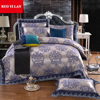 Noble bedding set 4pcs 100% silk modal jacquard duvet quilt covers bed sheet bedclothes coverlet bedcover king queen size