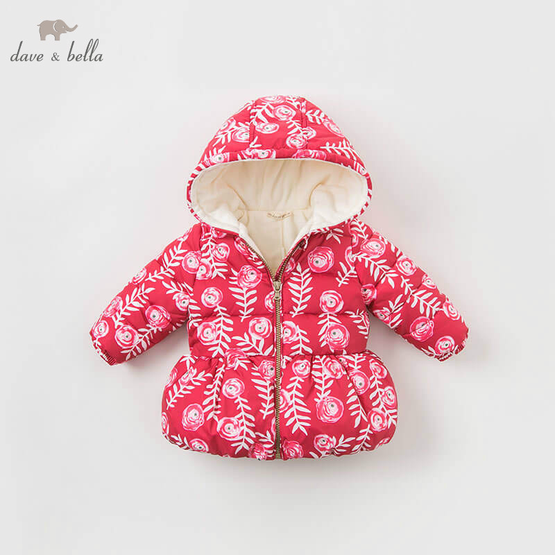 DBA8015 dave bella baby girls jacket children long sleeve outerwear fashion rose printed coat цена и фото