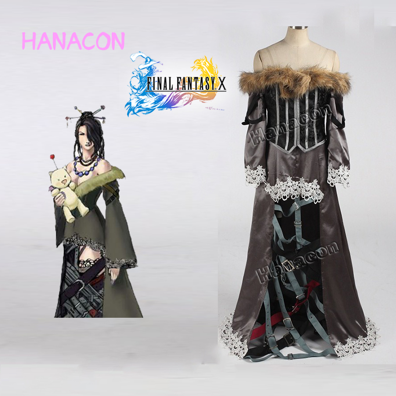 Final Fantasy X Cosplay Costume Lulu Cosplay Costume Gothic Dresses Outfit Halloween Game Cosplay Customized Uniform Sexy Dress