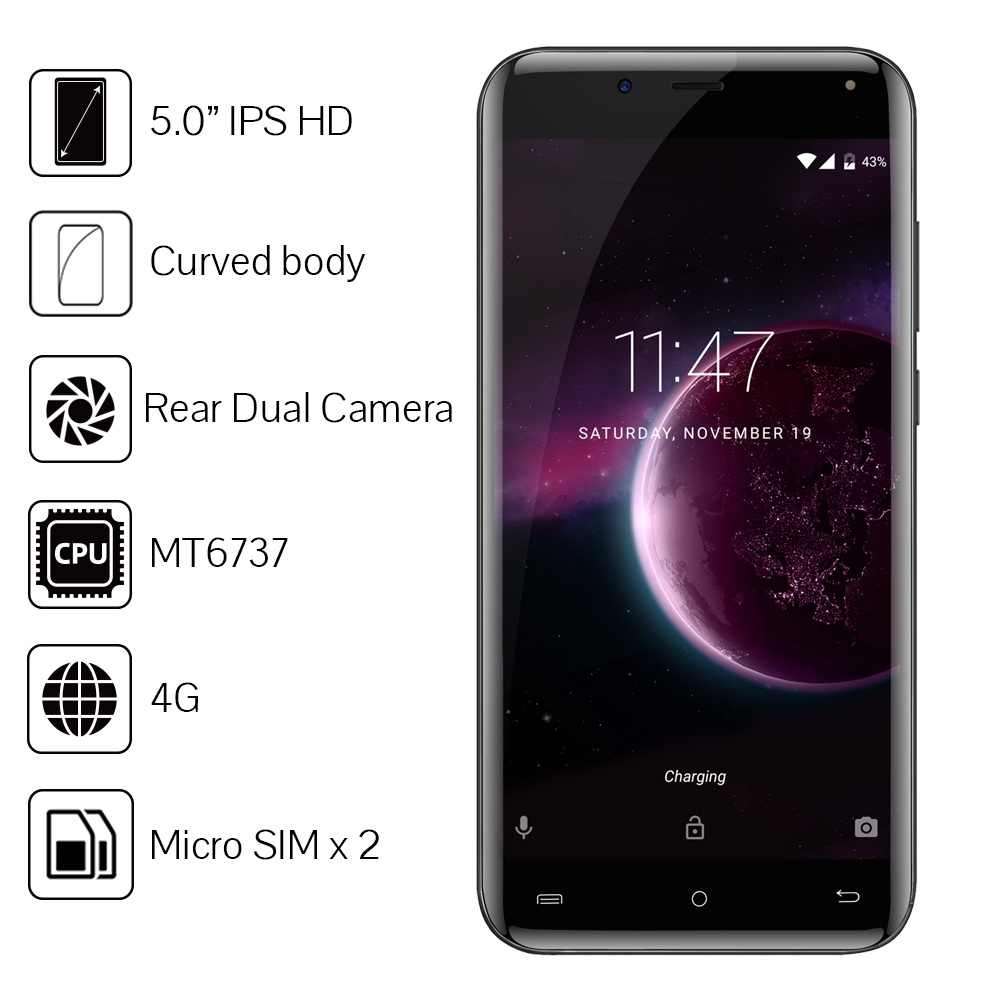 "Cubot Magic телефон 5,0 ""изогнутые Дисплей оригинальной ОС Android 7,0 MT6737 4 ядра 3 ГБ + 16 Гб Смартфон 4 аппарат задная двойняя Камера"