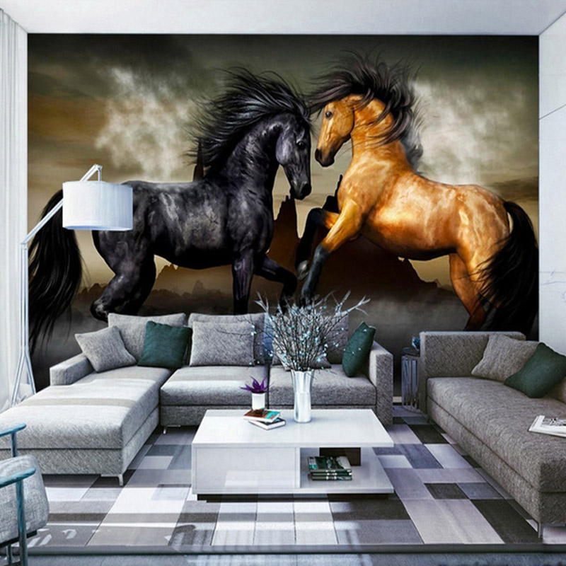 High Quality Custom Photo Wallpaper Horse Living Room Sofa Bedroom Background Flash Silver Cloth Wall Paper Mural De Parede 3D
