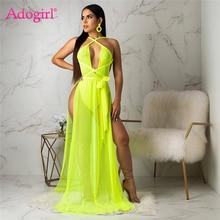 Adogirl Women Sexy Sheer Mesh Maxi Evening Party Dresses + Underwear Halter One Shoulder Backless High Silt Summer Beach