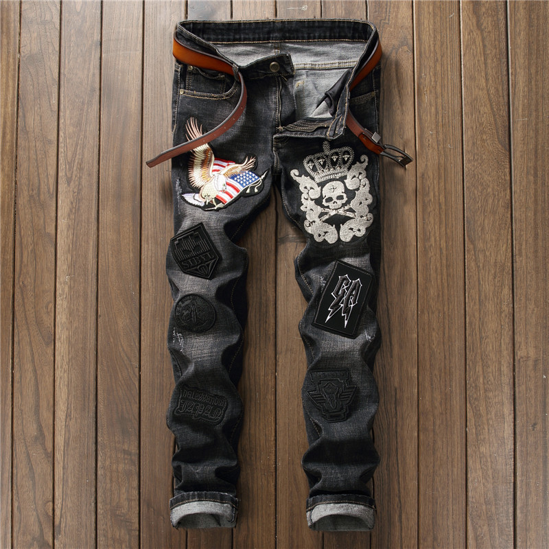Personality skull embroidery Eagle Patchwork Jeans Men DJ Club Jeans Fashion Brand Biker Jeans Denim Straight Slim Fit Pants personality patchwork jeans men ripped jeans fashion brand scratched biker jeans hole denim straight slim fit casual pants mb541