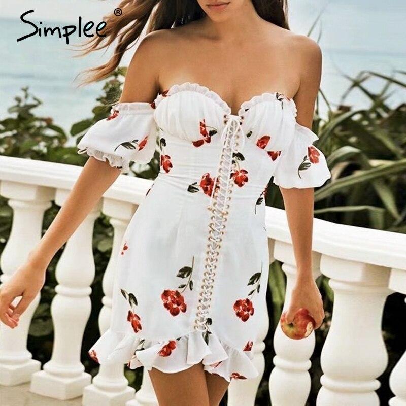 Simplee Сексуальное женское платье с открытыми плечами и принтом, кружевные летние короткие платья с рюшами, праздничные пляжные женские Мини ...