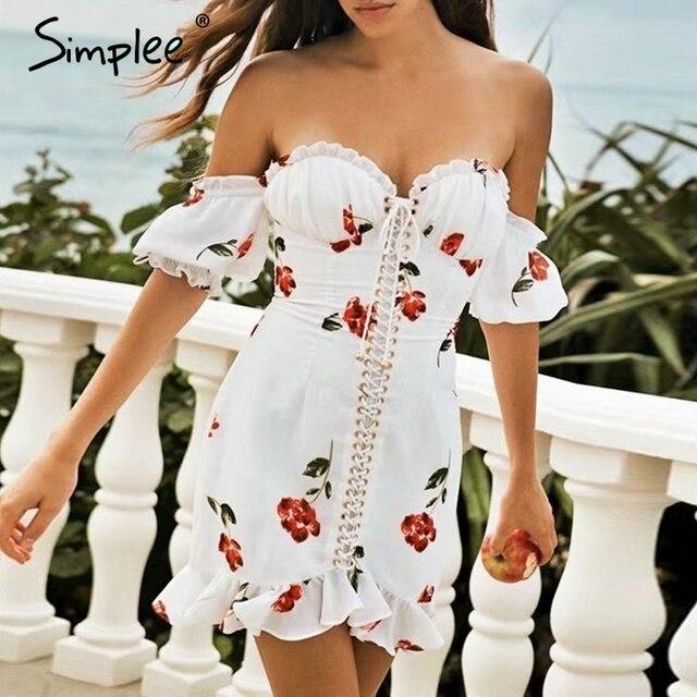 5c04e1cc955 Simplee Sexy off shoulder print women dress Lace up ruffle summer short  dresses Holiday beach female mini white vestidos 2019