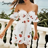 Simplee Sexy off shoulder print women dress Lace up ruffle summer short dresses Holiday beach female mini white vestidos 2019