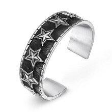 Fashion jewelry titanium steel bracelet,Vintage pentagram bracelet.Titanium steel jewelry bangles