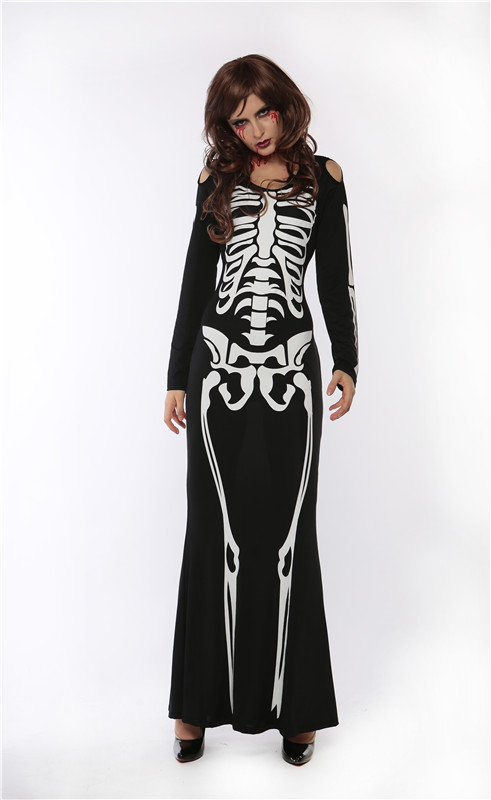 hot sexy halloween role playing costumes scary devil witch skull skeleton costume women nightclub long party cosplay dress - Halloween Fashion Games