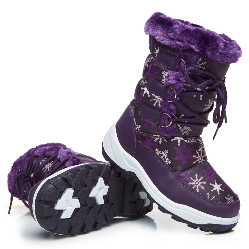 Frozenbear winter girls boy with leather ankle snow boot