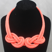 Accessories neon color short design necklace handmade cotton rope knitted chain necklaces